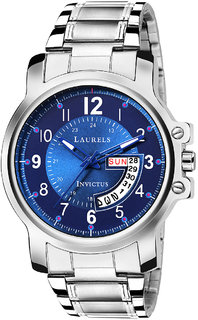Laurels Invictus Day Date Blue Dial Men's Wrist Watch- LMW-INC-030707