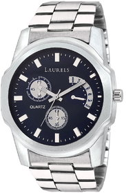 Laurels Blue Color Analog Men's Watch With Metal Chain: