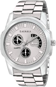 Laurels Silver Color Analog Men's Watch With Metal Chai