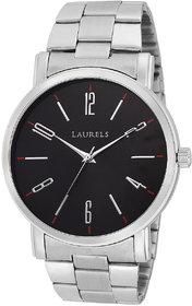 Laurels Black Color Analog Men's Watch With Metal Chain