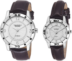 Laurels Silver Color Analog Couple's Watch With Strap: