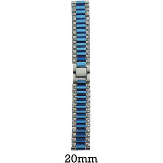 Like 20mm Ion Plated Steel Watch Strap (Silver/Blue)