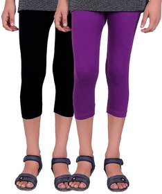 Kids Cotton Capris (Pack of 2) Black Purple