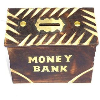 Desi Karigar Brown Wood Money Bank