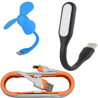 Sunshopping USB fan LED light and Data cable set of three (Assorted colours)