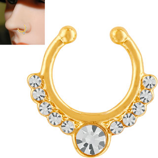 Mahi Gold Plated Glorious Crystal Nose Ring for girls and women NR1100165G