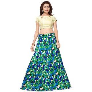 Active Womens Banglori Satin Semi-Stitched Lehenga Choli (L-98 Cube Blue)