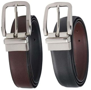 Tahiro Black And Brown Leather Belt - Pack of 2