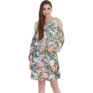Code Yellow Women's White Blouseon Printed Dress
