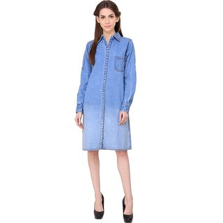 Klick2Style Womens Shirt Light Blue Dress