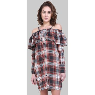 Klick2Style Womens Shirt Red Black Dress