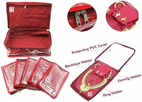 atorakushon Jewellery Organizer, Necklace Pouches, Earrings Tops Studs Half Set Bag Box Make up Kit with 5 Pouch (Maroon