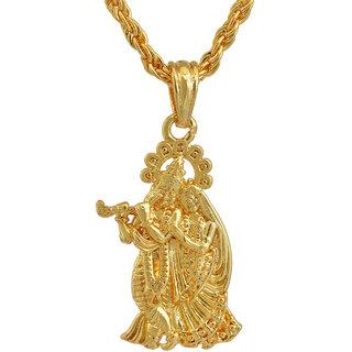 Memoir Gold plated, RADHA KRISHNA,  small and sober, stylish Pendant Hindu God, Men women