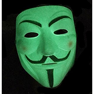Anonymous Unknown Hacker Vendetta Face Mask- Glow In The Dark (Radium)