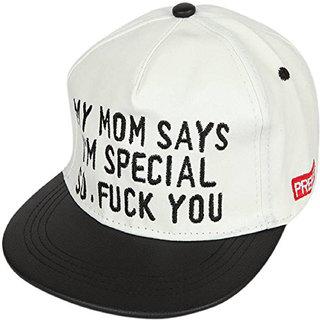 cdacdb0d1cf Buy DRUNKEN Men s White And Black Adjustable Snapback Cotton Cap ...