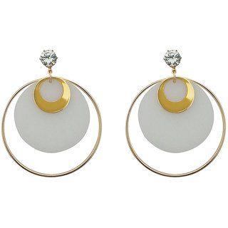 JewelMaze White Acrylic Dangler Earrings - 1314001