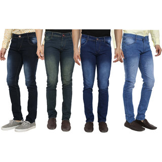 Red Code Men's Pack of 4  Slim Fit Multicolor Jeans
