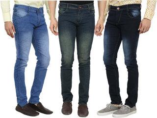 Spain Style Men's Multicolor Slim Fit Jeans (Pack of 3)