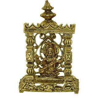 Memoir Gold plated brass, Antique Finish, Saraswati Temple Stand, Home decor Show piece, Hindu God Idol stand