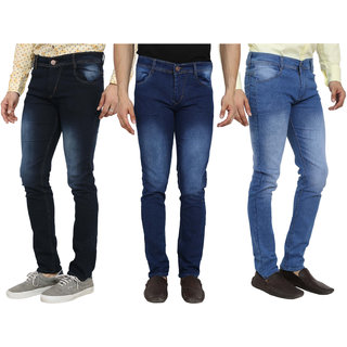 Spain Style Men's Multicolor Slim Fit Jeans (Pack of 3)