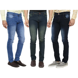 Spain Style Men's Pack of 3  Slim Fit Multicolor Jeans