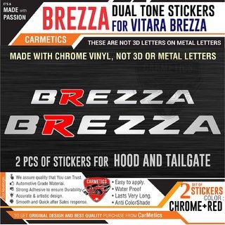 CarMetics Brezza Dual Tone Stickers for Vitara Brezza Chrome+Red