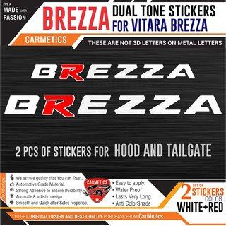 Brezza Dual Tone stickers for Vitara Brezza - White+Red - CarMetics