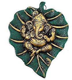 Ganesh idol  Wall Hanging Idol on Metal Leaf - (Green)