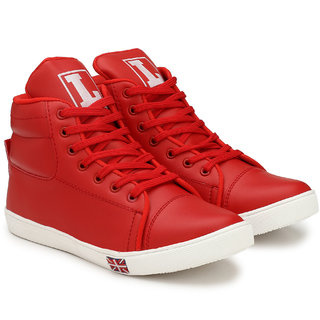 S37 MEN'S/BOYS STYLISH HIGH ANKLE RED SNEAKER SHOES