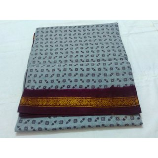 Grey Bengal Cotton Saree Zari Border Handloom New Saree Double Side Border Sungadi Saree