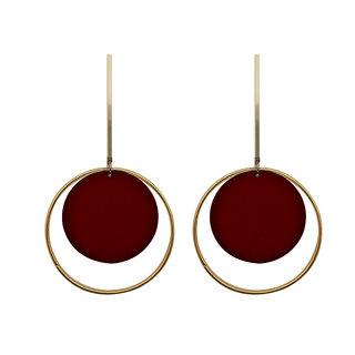 JewelMaze Red Acrylic Dangler Earrings - 1314004C