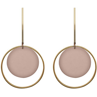 JewelMaze Pink Acrylic Dangler Earrings - 1314004E