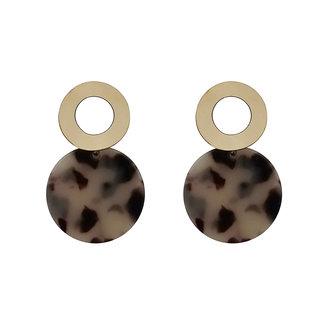 JewelMaze Black Acrylic Dangler Earrings - 1314005A