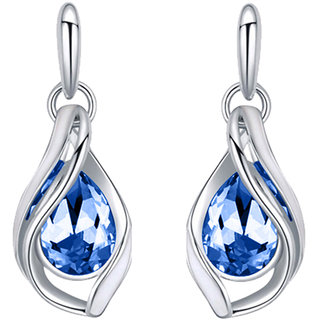 Code Yellow Rhodium Plated Majestic Water Drop Montana Blue Earrings with Crystal Stones ER1193696RMBlu