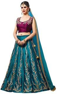 Bhuwal fashion banglory satin semi stiched embroidery lehnga- choli-ttm6064
