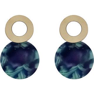 JewelMaze Blue Acrylic Dangler Earrings -1314005C