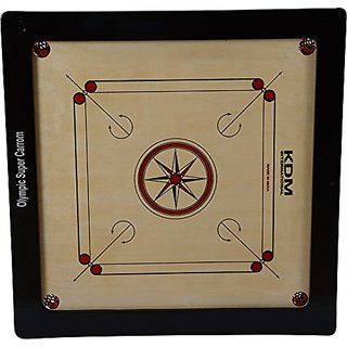 Tryviz Full Size (Large) 32 inches Cut Pocket Carrom Board with Coins Striker Carrom Powder