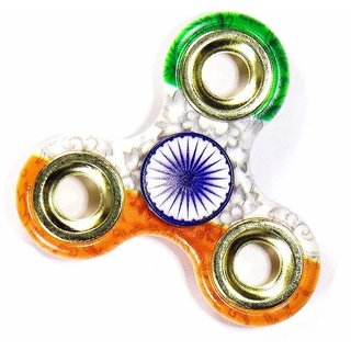 Tri-Color India Flag Spinner with Golden Rings