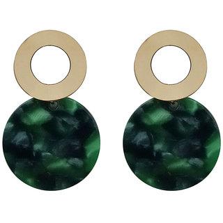 JewelMaze Green Acrylic Dangler Earrings - 1314005D