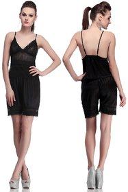 DILJEET Women's Black Solid Satin Night Shorts (Pack of 2)