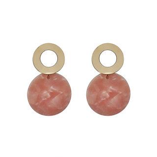 JewelMaze Pink Acrylic Dangler Earrings - 1314005E