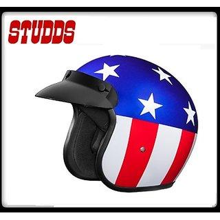 Studds Jetstar Classic D1 Decor Open Face Helmet - ( Blue )@ Best Price.!
