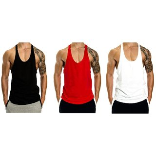 The Blazze Mens Blank Stringer Y Back Bodybuilding Gym Tank Tops Pack of 3