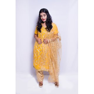 chanderi embroidery work semi stitched salwar suit