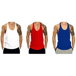 fafcf3552d 50%off The Blazze Mens Blank Stringer Y Back Bodybuilding Gym Tank Tops  Pack of 3