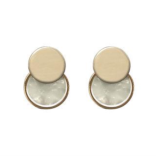 JewelMaze White Acrylic Dangler Earrings - 1314007A