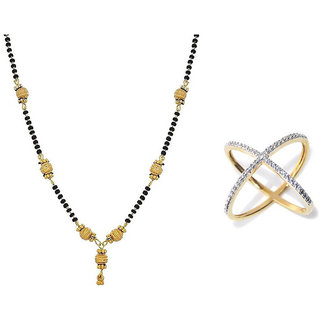 Chrishan High Gold Plated Designer Combo Of Alloy Mangalsutra And Ring For Women.
