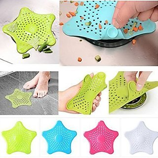 AMAFHH53 Star Fish Hair Catcher Rubber Bath Sink Strainer Drain Cover Trap (Color as per availability)
