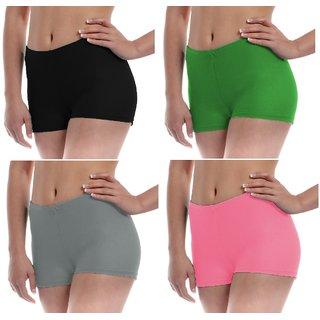 The Blazze Women's Seamless Spandex Boyshort Underskirt Pant Short Leggings Pack of 4