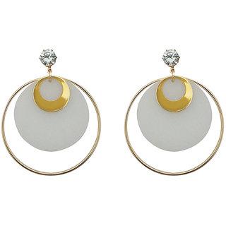 JewelMaze White Acrylic Dangler Earrings - 1314001